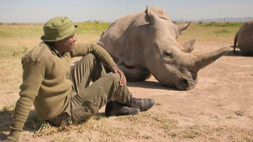 James Mwenda, the keeper of the world's last two northern white rhinos.