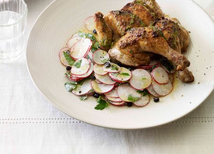 Roast spatchcocks with radish and currant salad