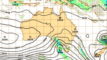 Weather map for Australia, June 1, showing the low moving across parts of the south-east.