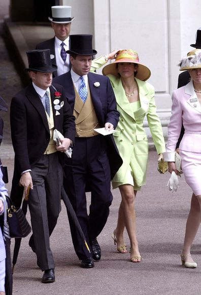 Royal Ascot Race Meeting Thursday - Ladies Day. Prince Andrew, Duke Of York walks with Ghislaine Maxwell At Ascot.