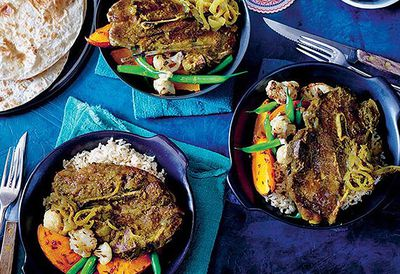 Indian green lamb curry