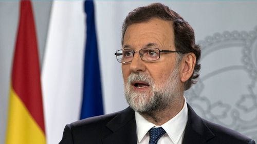 Mr Rajoy speaks during a news conference earlier this week. (AP)