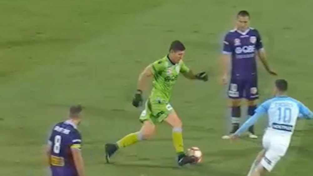 Perth Glory goalkeeper Liam Reddy's rush of blood leads to goal against Melbourne City