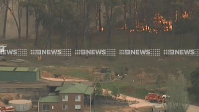 <p>A bushfire threatened properties off the Burke and Wills Track, Lancefield, on Tuesday. (9NEWS)</p>