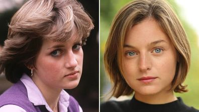 Princess Diana and the actress portraying her in 'The Crown', Emma Corrin.