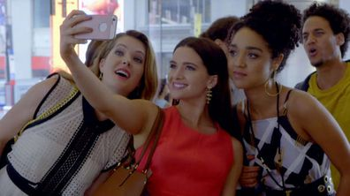 Meghann Fahy, Katie Stevens and Aisha Dee in a scene from The Bold Type.