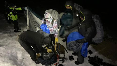 A group of four hikers were rescued in the early hours of this morning from the Kosciuszko National Park.