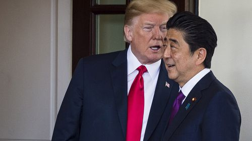 US President Donald J Trump, pictured with Prime Minister Shinzo Abe last year in Washington, claims the Japapnese leader nominated him for the Nobel Peace Prize.