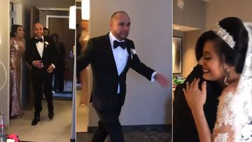 'Dad you've gone viral': Priceless wedding dress reaction