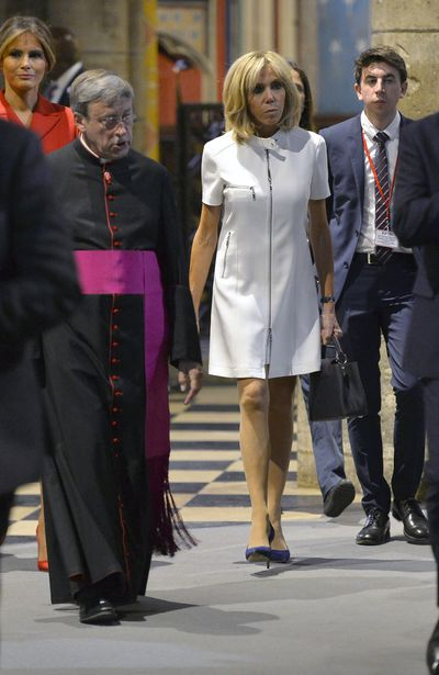 Brigitte Macron at the Notre Dame Cathedrale in July, 2017 in Paris, France