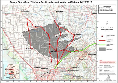 The latest CFS map of the South Australia's bushfires. (Supplied)