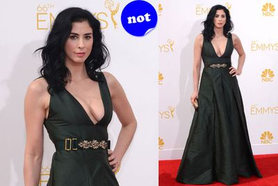 Oops! Sarah Silverman forgot to iron her gown before stepping out on the red carpet.