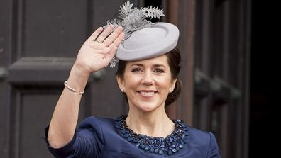 Crown Princess Mary of Denmark leaves the Town Hall after lunch during festivities for the 75th birthday of Queen Margrethe in 2015.
