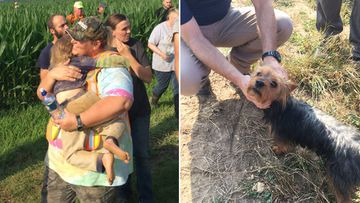A three-year-old girl is safe after spending the night in a rural Missouri cornfield, her faithful dog by her side. Picture: Twitter/@MSHPTrooperE