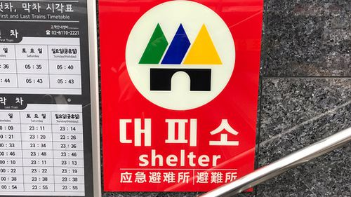 A shelter sign in the Seoul Subway. (Tom Steinfort)