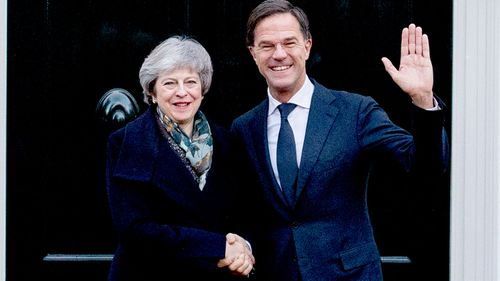 Prime Minister Mark Rutte receives his British counterpart Theresa May for talks about the Brexit in The Hague, Netherlands.