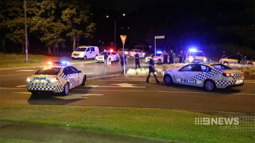Police used road spikes to end a police chase after car was rammed. (9NEWS)