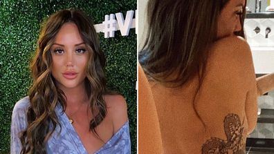 Charlotte Crosby, tattoo, dragon, back, selfie, Instagram