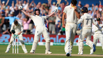 Ben Stokes celebrates after England win third Ashes Test.