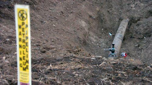The breached Poplar pipeline in Montana.