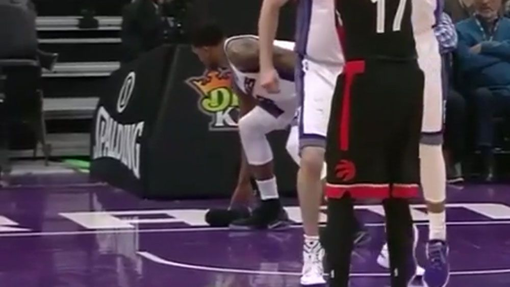 NBA star gives unsuspecting fan the boot
