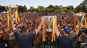 <p>More than 10,000 ecstatic Hawthorn fans have celebrated the club's historic premiership three-peat at Glenferrie Oval today. </p><p><strong>Click through for images from the day as players and supporters revelled in the win.</strong></p>