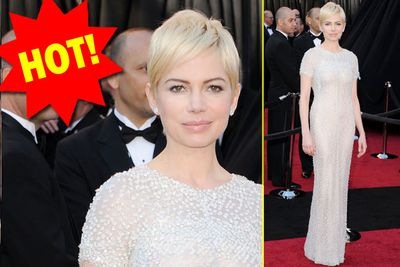 Either she's wearing the bodysuit of the century or Michelle Williams is pulling some Emperor's New Clothes bizzo under this retro little number.