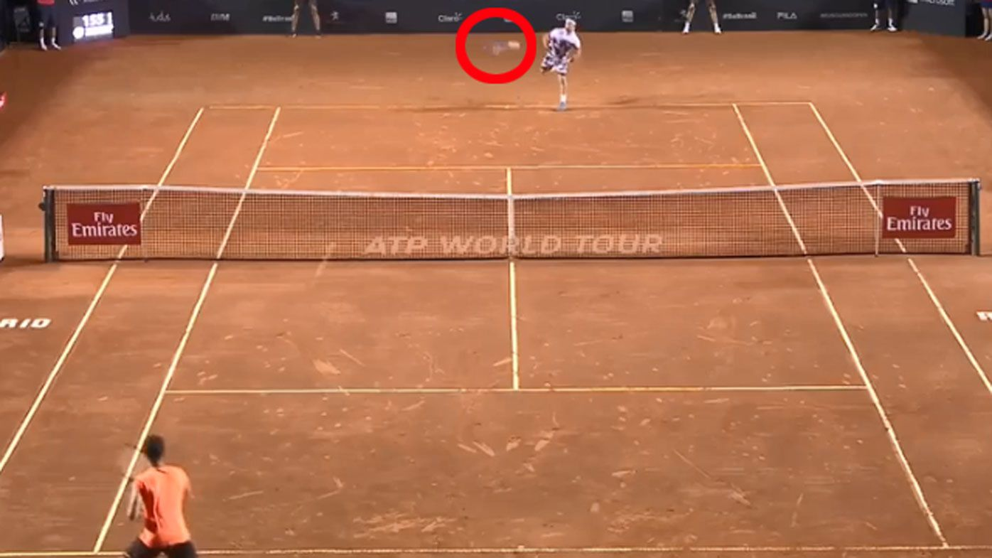 Italy's Fabio Fognini drops racket but wins set point against Brazil's Thomas Bellucci