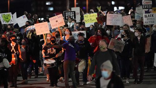 Protesters march in Portland following the election.