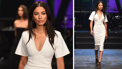 Model and David Jones spokesperson Jessica Gomes shone on the catwalk wearing a design by Dion Lee. (AAP)