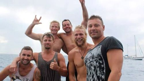 While working on the high seas with his six best mates – Ben Leahy, Adam Bidner, Zac Feeney, Adam Hoffman, Chris Sammut and Eli Tonks – their fishing dive boat Dianne capsized. Image: 60 Minutes