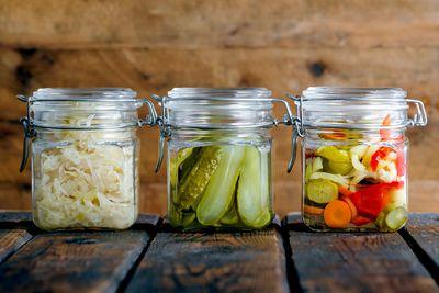 Homemade pickles, vinegar, salad dressings or infused extra virgin olive oil