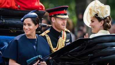 The trio ride by carriage down the Mall during Trooping The Colour, the Queen's annual birthday parade, on June 08, 2019.