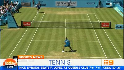 Nick Kyrgios puts on serving clinic to reach Queen's semi-finals
