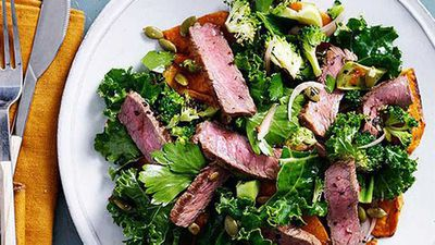 "<a href=""http://kitchen.nine.com.au/2016/05/05/10/03/spiced-beef-pumpkin-and-kale-salad"" target=""_top"">Spiced beef, pumpkin and kale salad</a>recipe"