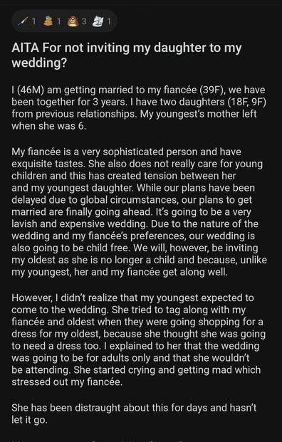 Reddit post groom and fiancée wedding post
