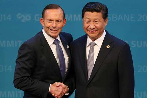 Prime Minister Abbott with President Xi in Brisbane