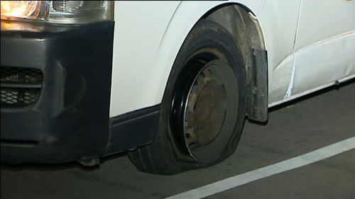 The maxi-taxi was found with a flat tyre.