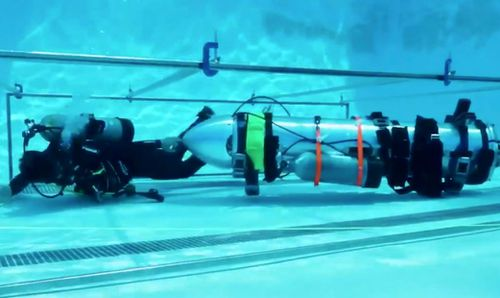 Elon Musk's prototype 'child submarine' being tested in California.