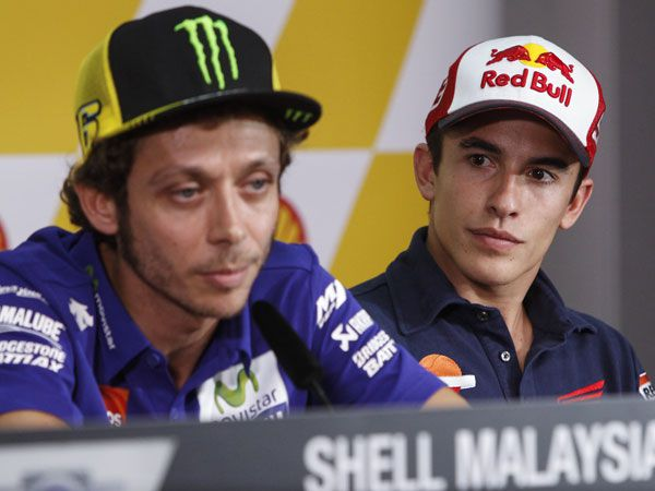 Valentino Rossi and Marc Marquez. (AAP)