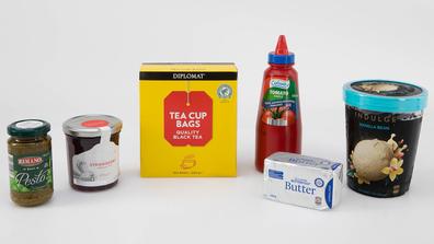 Aldi's best house brand food items: pesto, strawberry jam, tea, tomato sauce, butter, vanilla ice-cream