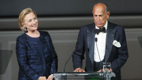 Oscar De La Renta with Hillary Clinton.