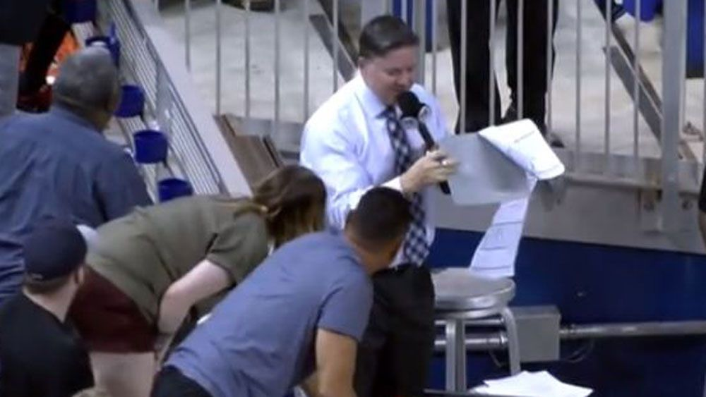 Clipboard saves reporter small getting smashed by baseball at MLB match