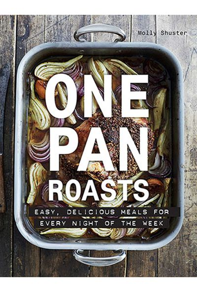 "<p><a href=""https://www.murdochbooks.com.au/browse/books/cooking-food-drink/general-cookery-recipes/One-Pan-Roasts-Molly-Shuster-9781760522520"" target=""_top"">One Pan Roasts - Easy, delicious meals for every night of the week</a>, by Molly Shuster, AUD $35.00</p> <p>No matter how much dad likes to cook, no one likes cleaning up a mess, and this is the book with all the flavour minus the washing up mess.</p>"