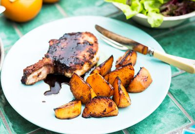Poh's spiced pork cutlets with charred persimmons