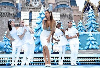 Pop singer Ariana Grande performs Christmas Carols at the taping of Disney's TV special at Walt Disney World Resort in Lake Buena Vista, Florida. (Mark Ashman/Disney)