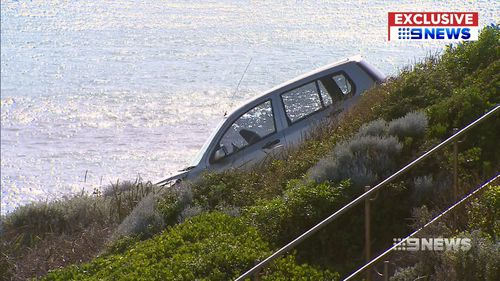 It took over an hour for the car to be removed. Picture: 9NEWS