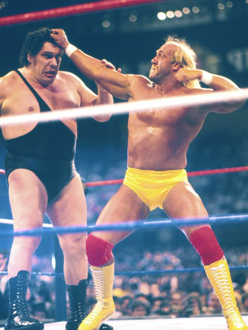 Hulk Hogan vs Andre the giant Wrestlemania Vl at Historic Convention Hall in Atlantic City, New Jersey in March 1988.
