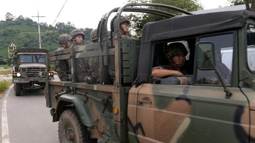 South Korean soldiers near the demilitarised zone between the two countries. (AAP)