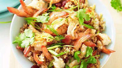"Recipe: <a href=""http://kitchen.nine.com.au/2016/05/16/19/21/special-fried-rice-with-prawns"" target=""_top"">Special fried rice with prawns</a>"